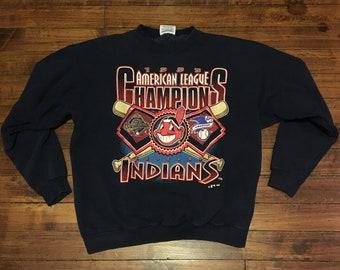 Cleveland Indians crewneck sweatshirt 1995 AL champions MLB baseball sweater blue Medium