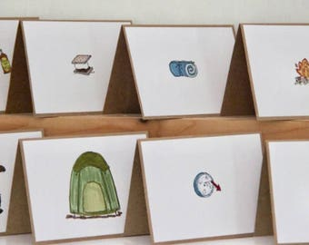 8 Camping Cards.  Letters from Camp Stationery.  Camping Party Invitations. Camping thank You Cards.  Sleeping Bag, Tent, Smore