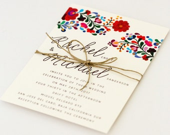Floral Destination Wedding Invitations - Colorful Mexican Embroidery Inspired – Summer Wedding Invitation (Rachel Suite)