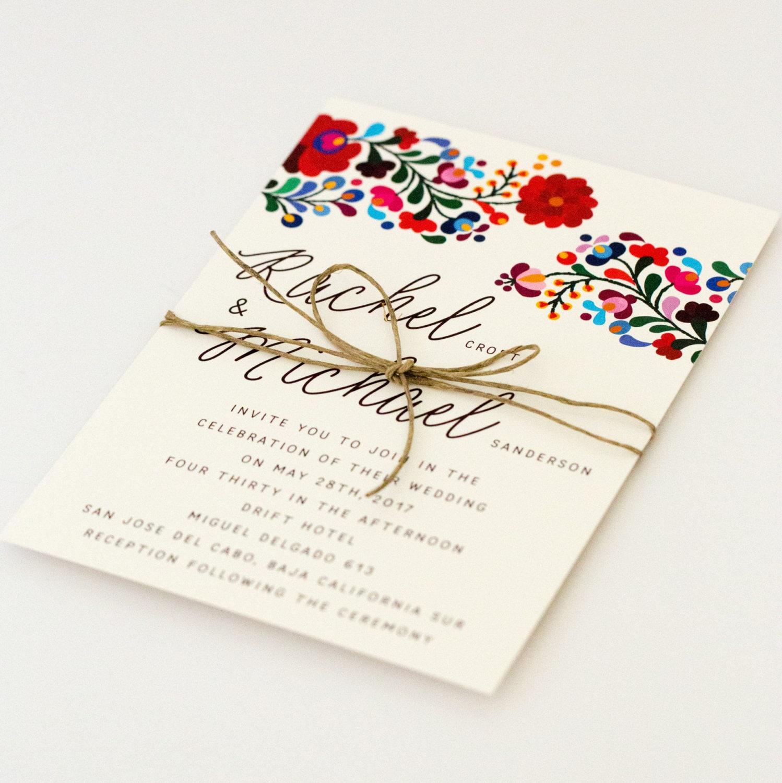 Floral Destination Wedding Invitations Colorful Mexican