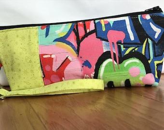 Unique handmade small zipper pouch with wrist strap, graffiti designer fabric, makeup bag, travel bag, zipper bag, machine washable
