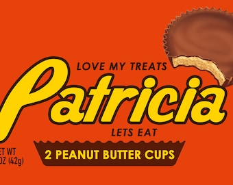 "Candy Inspired  Chocolate Peanut Butter Cups Nameplate Sign 12"" x 6"