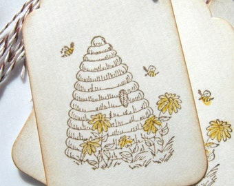 Bee Hive Gift Tags, Bee Skep Gift Tags, Bee Mine Gift Tags, Bee Gift Tags