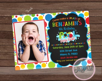 Pool Party Invitation, Pool Birthday Invitation, Pool Birthday Party Invitation, Boys Pool Party Invitation with Picture, Digital File.