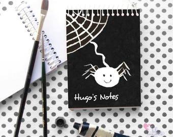 Black & White Stationery, Spider Decor, School Supply, Best Friend Gift, Custom Notepad, Spiral Notebook, Halloween Stationery, Boy's Gifts