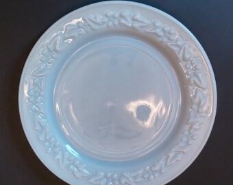 Hazel Atlas Milk Glass embossed Floral Dinner Plate