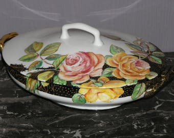 Porcelain painted roses jewelry box