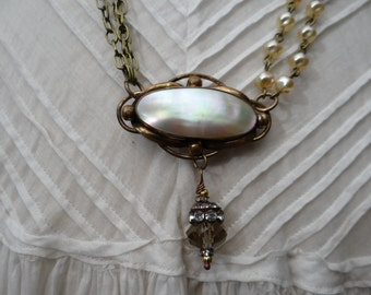 1800's Victorian Mother of Pearl Rose Gold Plated Brooch Assemblage Necklace - NRU124