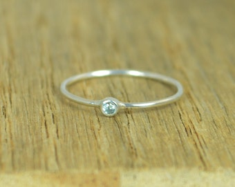 Tiny Aquamarine Ring, Sterling Ring, Tiny Ring, March Ring, Mother's Ring, Dainty Ring, Stacking Ring, Blue Aquamarine Ring, Aquamarine Ring