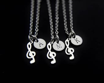 Best friends Necklace, Music Student Gifts, Music Note Necklace, Silver Music Note Charms, Musician Gifts, Personalized Music Lover Necklace