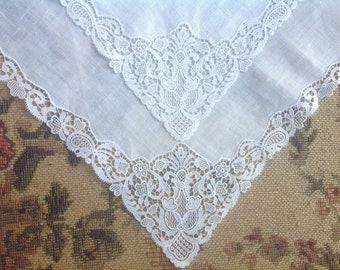 VINTAGE LACE HANDKERCHIEFS - French Net Lace - Embroidered Net Lace. Wedding handkerchief.