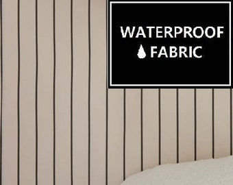 Waterproof Fabric - Beige, Stripe Pattern, 150cm Width, by Yard