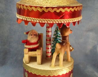 Vintage Musical Carousel in original box,Santa Claus is coming to town