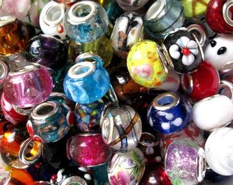 Wholesale Lot ~ 50 European Large Hole Beads ~ Lampwork ~ Facets ~ Black & White Mix