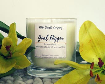Goal Digger | Lemon and Basil Scented Soy Candle