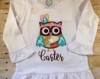 Owl Applique, Indian Owl, Thanksgiving Owl applique Shirt