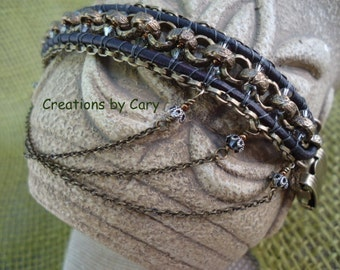 PDF only. Unbroken Steampunk woven beaded bracelet pattern tutorial with photos