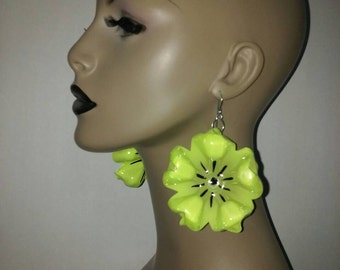 Uniquely Wacky Lime Green Flower Shape Plastic Large Earrings, Big Earrings, Womens Earrings, Handmade Earrings, Womens Jewelry
