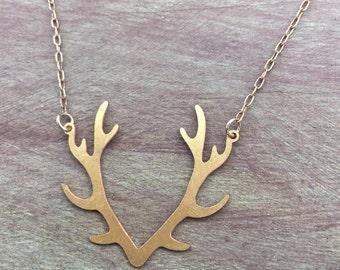 Antler Necklace, Brass Antler Necklace, Gold Antler Charm Necklace,  Brass Antler Charm, Vintaj Brass Antler Necklace