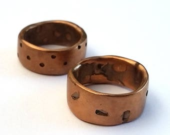 Unisex bronze ring, textured surface. Simple, unique jewellery. Minimalist and bold. Man/Men's or women's.