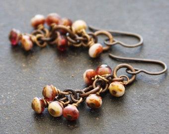 Raspberry Cream Brass Chain Cluster Earrings