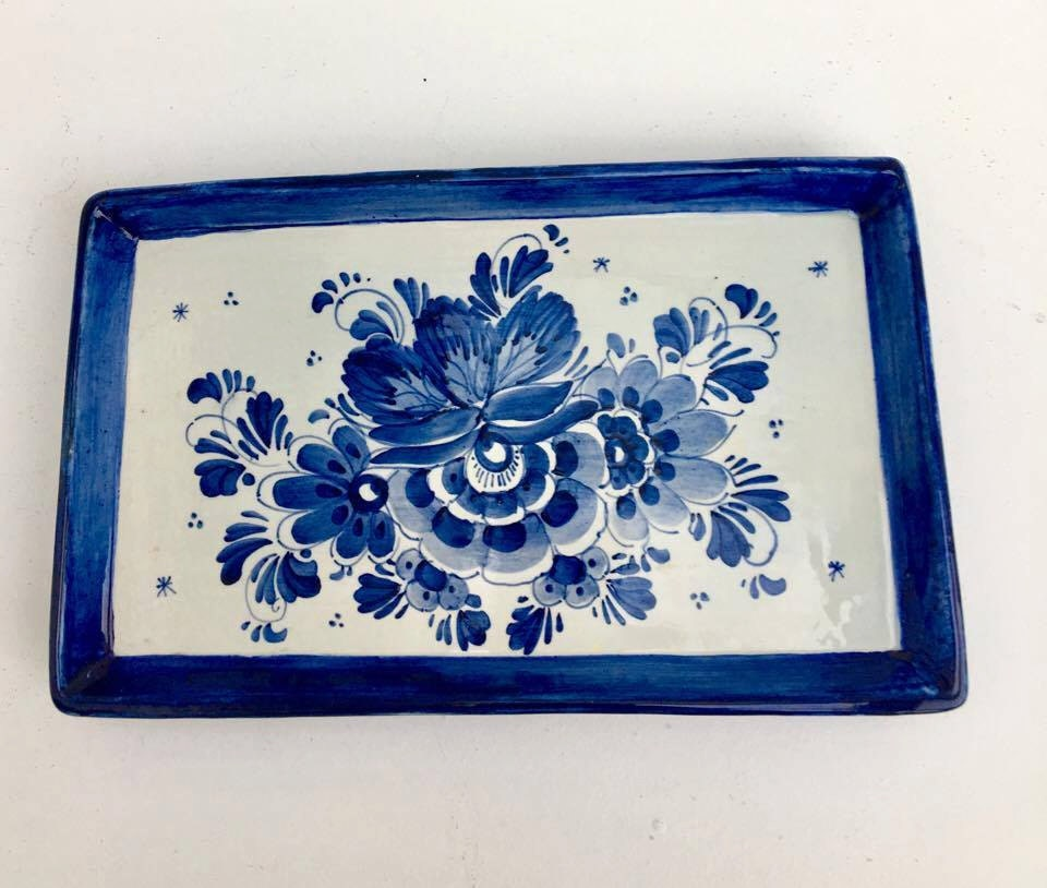 Hand Painted Dishes Israel Blue Signed