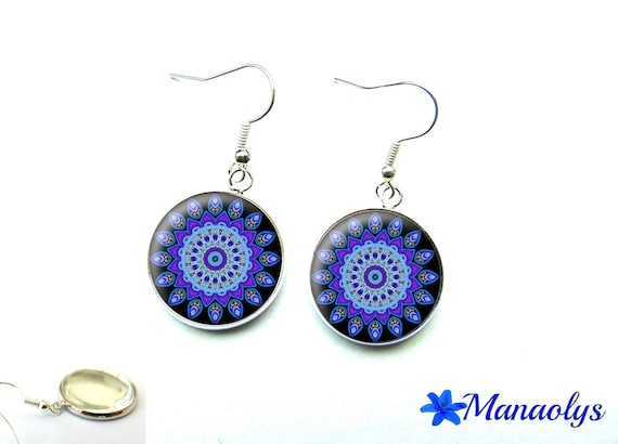 Blue mandala 1427 glass cabochons earrings