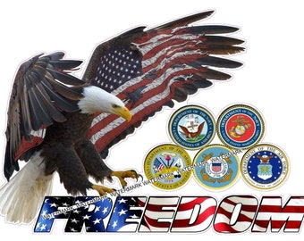 American Eagle Freedom Armed Forces Sticker/Decal