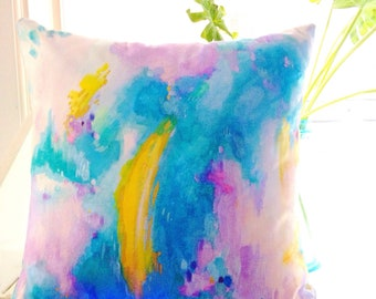 Handpainted Accent Pillow- Abstract Art Print- Original Abstract Painting- Teal, Turquoise, Lavender, Gold, Tan,Metallic-Bohemian, Mermaid