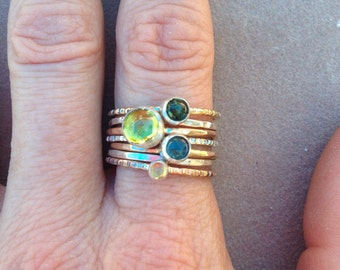 Tourmaline peridot citrine gold and silver stacking ring