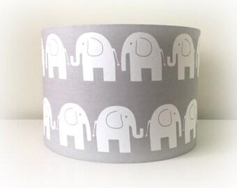 Grey Nursery Lampshade, Light Grey Elephant Fabric , Drum Lampshade 20cm 30cm, Elephant Lampshade, New Baby Gift, Grey Nursery