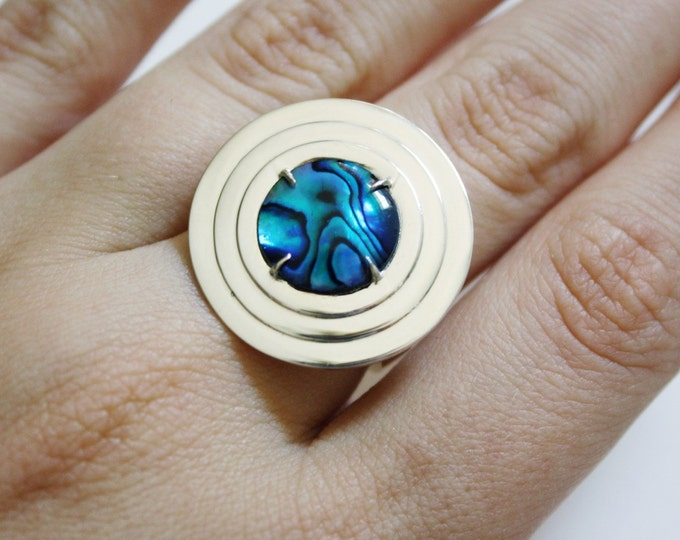 Mothership Ring - sterling silver abalone ring - abalone jewelry - statement ring - geometric ring - mermaid jewelry - art deco ring
