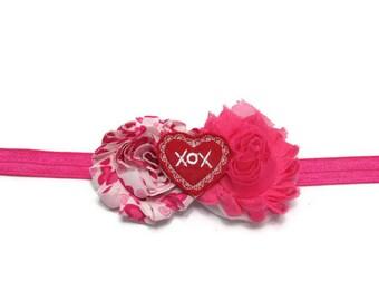 Kisses and Hugs Valentine Headband - Valentine Baby Bow - Heart Headband - XOX Headband - Valentine Gift