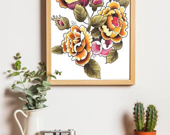 Traditional Tattoo Flower Illustration - DOWNLOAD