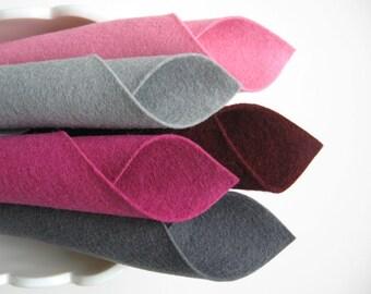 100% Wool, Felt Fabric Set, Bucket of Berries Color Story, Mulberry, Lavender Pink, Grey, Merlot, Slate, Felt Pattern Supply, 1mm Merino