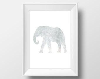 Grey Watercolor Elephant Printable, Elephant Print, Elephant Wall Art, Watercolor Elephant, Printable Elephant Art, Animal Nursery Decor