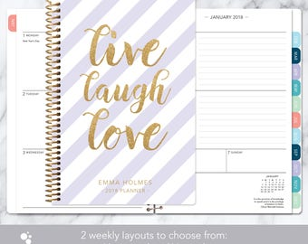 2018 2019 planner calendar | 12 month planner | add monthly tabs weekly student planner personalized agenda | purple gold live laugh love
