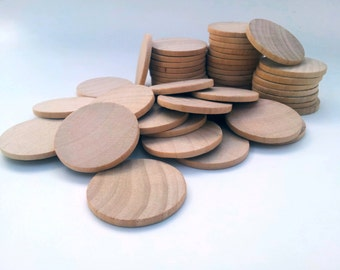 "Qty of 50 / 1.5"" Wooden Circles Round Discs - 1/8"" thick - Wedding Favors DIY Unfinished Ready to Paint"