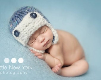 Newborn Boy Pilot Cap Hand Knit Baby Aviator Hat Infant Knitted Beanie Lumberjack Photography Prop Photo Hunter Going Home Coming Outfit Fud