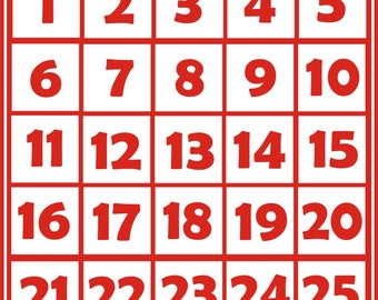Iron-on numbers - 25 numbers
