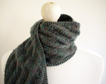 SALE Knitted grey/green diagonal ribbed autumn / winter scarf with button detail