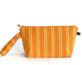Wedge Bag, Small-Project Knitting Bag, Knit Stitches in yellow and orange