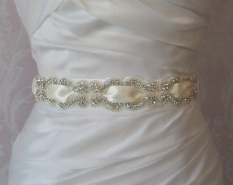 Crystal Rhinestone Sash, Ivory Braided Crystal Bridal Sash, Wedding Belt, White, Champagne, Diamond White, Black and Custom Colors - SHELBY