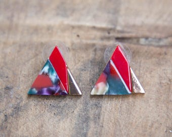 VINTAGE 1980's Triangle Funky Earrings