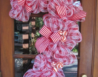 3' Candy Cane Wreath Deco Mesh Candy Cane Wreath Christmas Wreath Christmas Door Decor Red White Wreath Mint Candy Wreath Holiday Wreath
