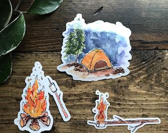 Vinyl Sticker - Camping Sticker - Watercolor Sticker - Sticker for laptop - Water bottle sticker - Bumper sticker - watercolor - campfire