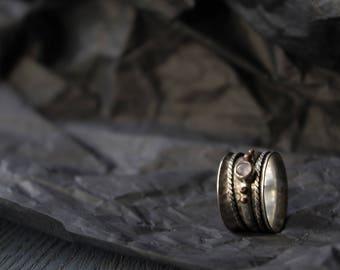 Silver Rotating Rings,Rotating Rings moonstone,Sterling silver boho ring,Spinner meditation rings for women,spinning meditative silver ring