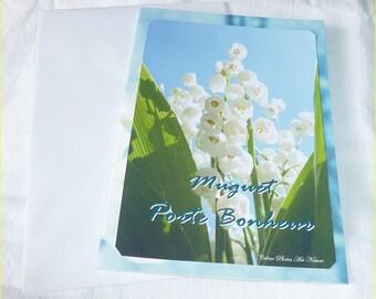 "Carte double 1er mai "" Muguet porte bonheur "" 10x15cm"