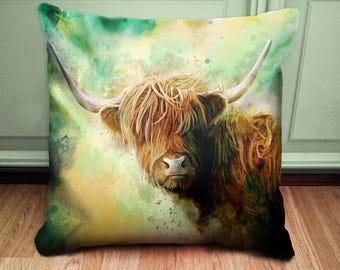 Highland Cow Cushion - Green and Yellow Cushion - Statement Cushion - Animal Cushion - Scottish Cow Pillow - Highland Cattle Cushion
