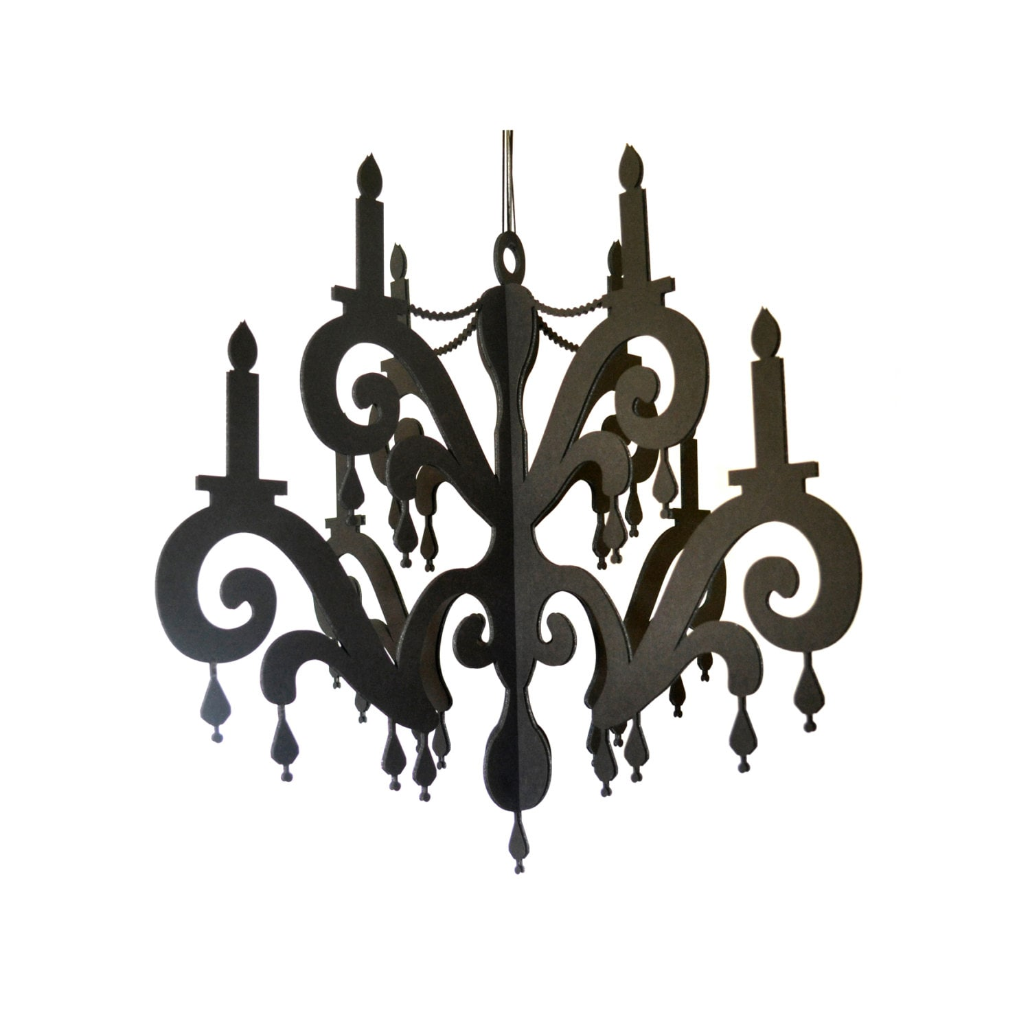 Chandelier With Jewels Elegant Black Home Party Decor